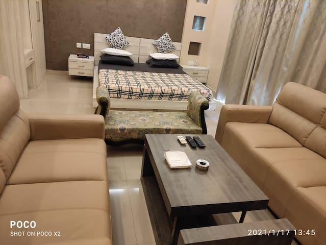 It is a Professionally Designed Studio Apartment, designed like a Five Star Hotel Suite Room having a 7 Seater Sofa, Split AC, Geyser, LED TV, Refrigerator, etc.