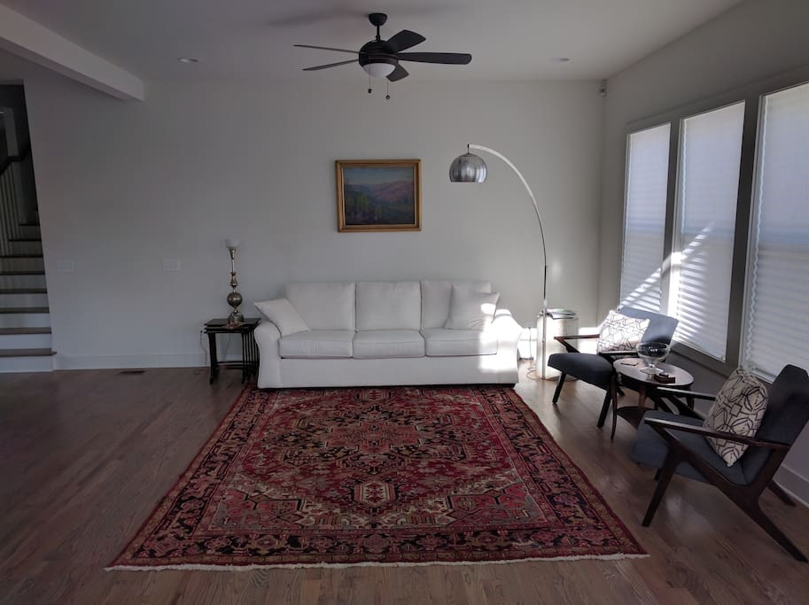 Living room with antique, handwoven Turkish rug.
