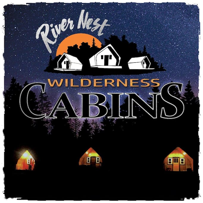 Our logo with the cabins below getting ready for bed.