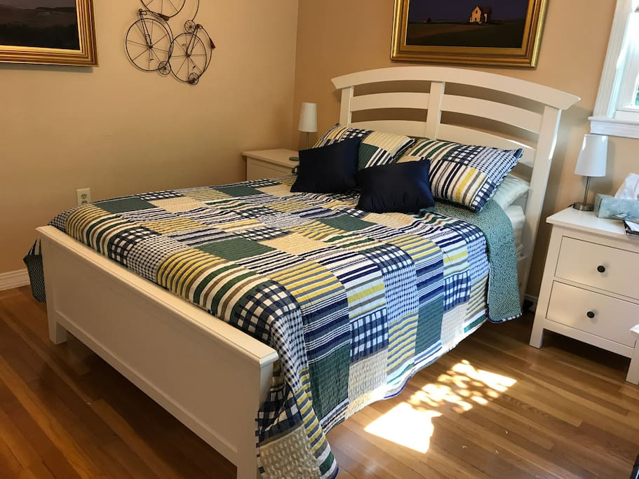 Another view of the bed.  You can use the night stands on the sides of the bed for you clothes.