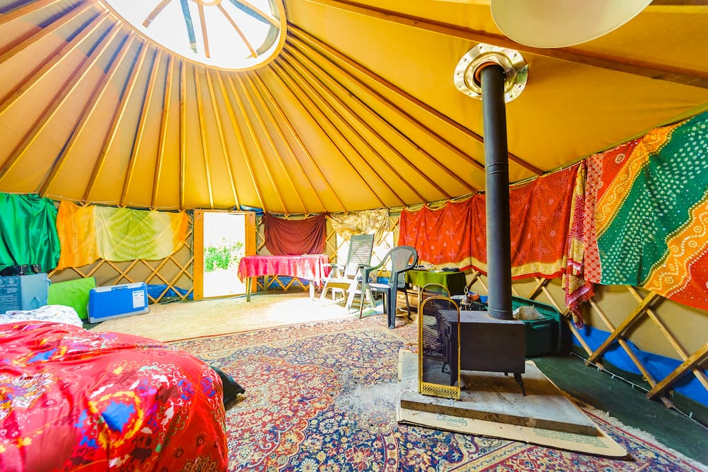 The Yurt has a lovely airy feel, and is deceptively spacious