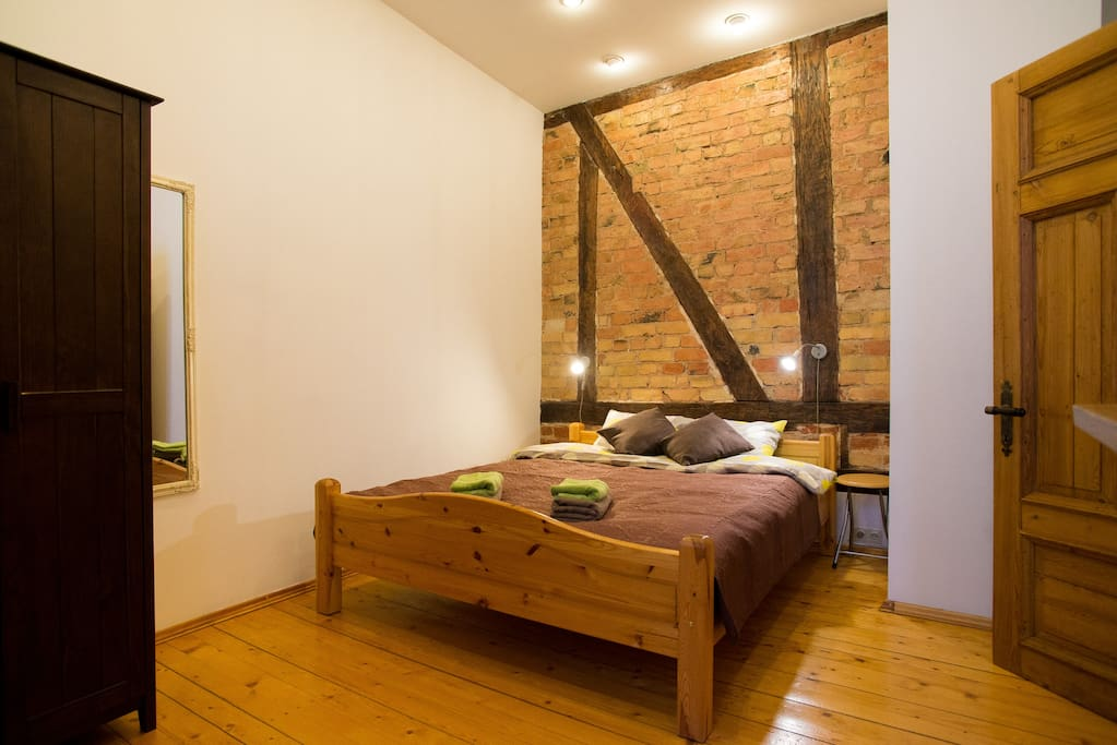 In bedroom we have a double bed, towels, bed linen, iron, vacuum cleaner and yoga mattress for your morning exercises. :)