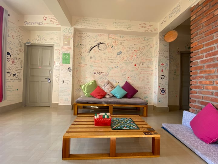 One bed in a Male Dorm at Tag Along hostel Gangtok