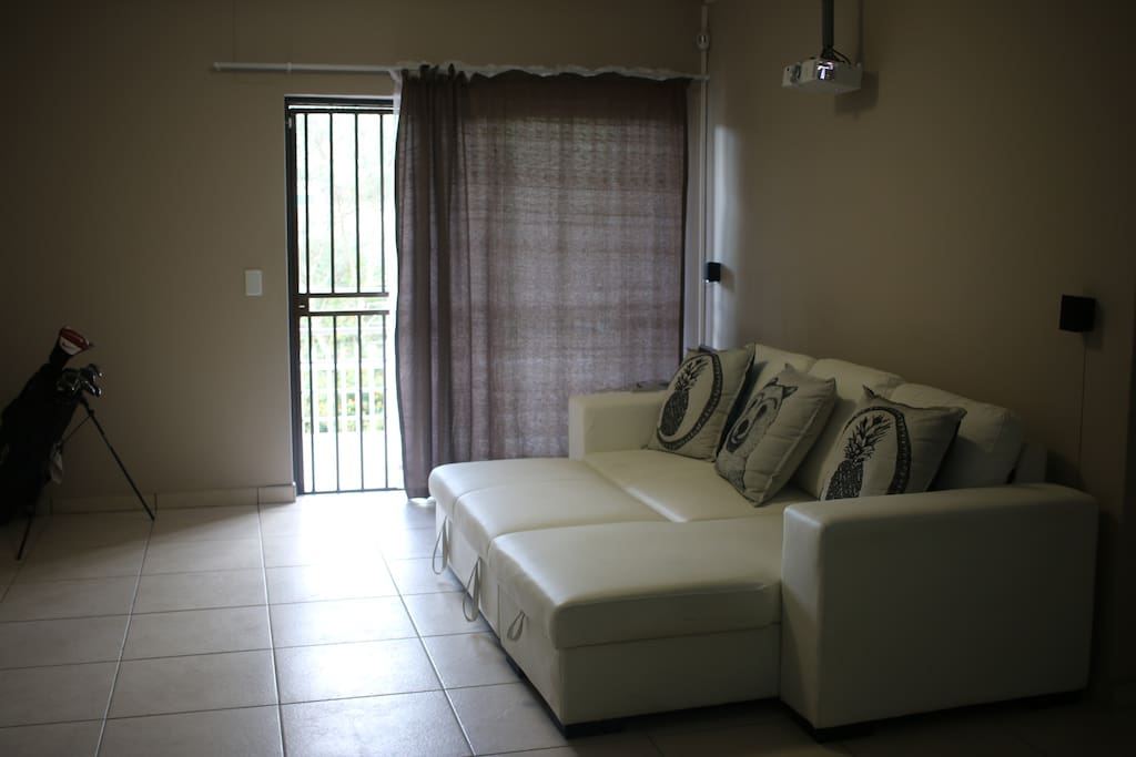 Spacious lounge with leather couch, surround sound and movie projector!