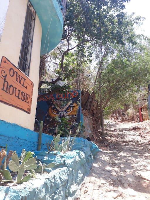 mural entrada casa buho