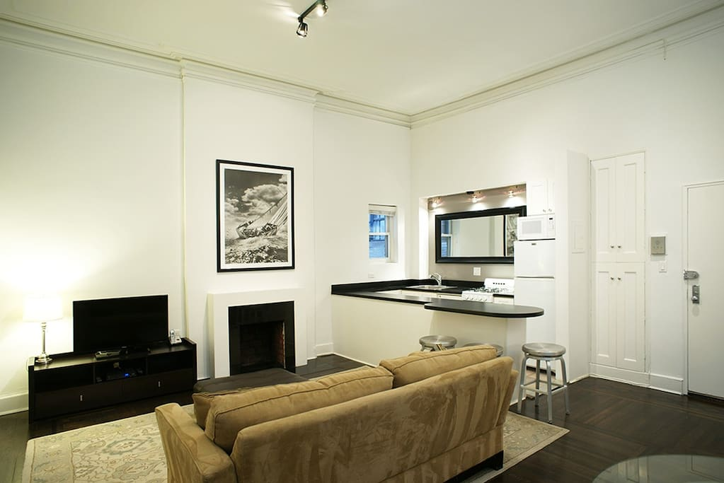 Living room with TV and a queen size sofa bed and coffee table