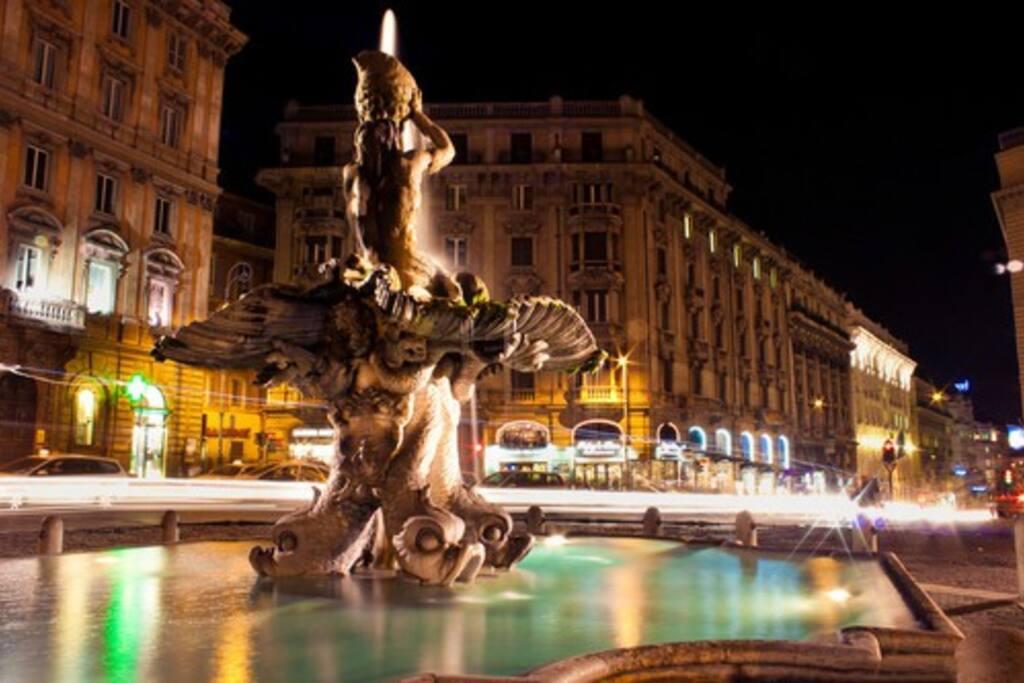 Fontana del Tritone a Piazza Barberini (50 metri)