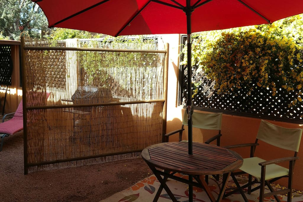 Private patio area with a gas grill for out door picknicks