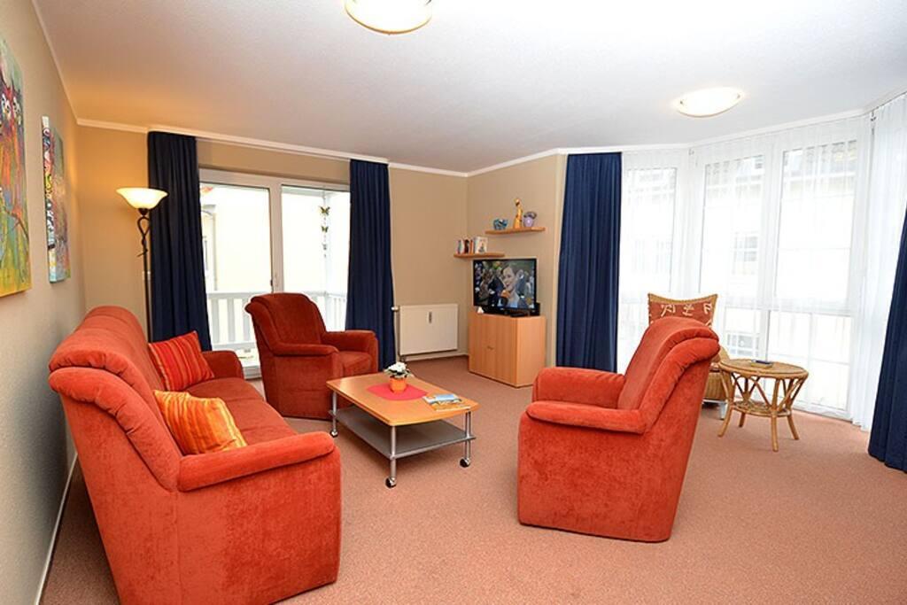 Das Wohnzimmer der Wohnung 1 in der Ferienwohnung Schulte.