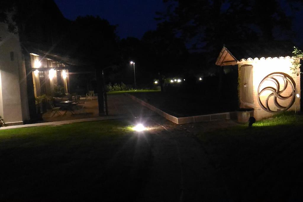 Giardino illuminato notte