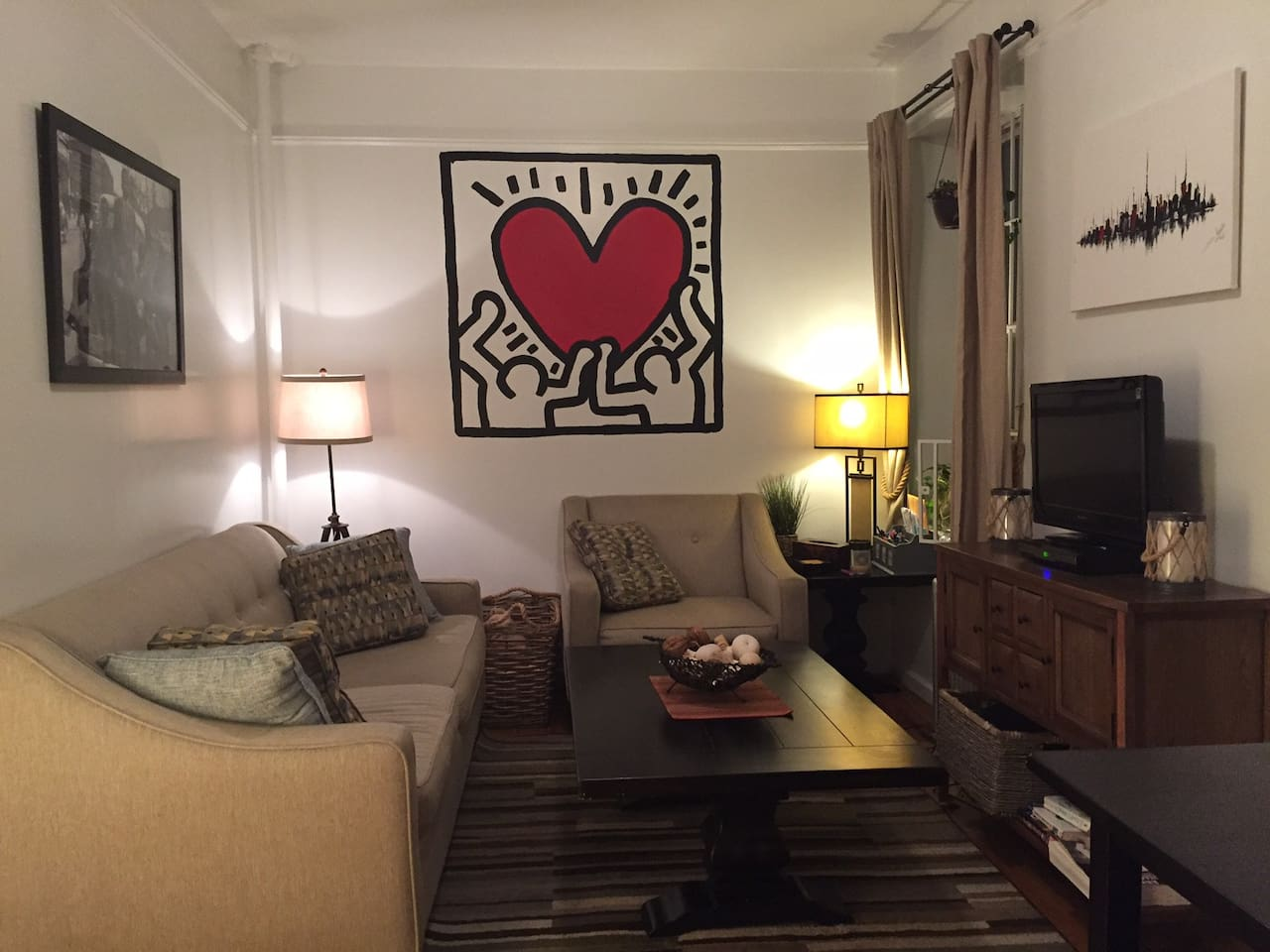 Common area with Haring mural