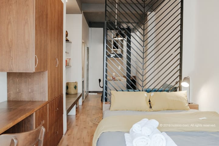 LIMITED French Studio, MASSIVE space with cooking, dining, living, sleeping, chilling outside PRIVATE TERRACE.  ***Note: All of our Floor has been entirely renovated with wood.