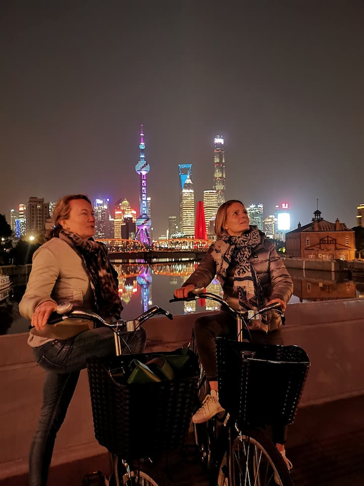 On the Bund viewing the skyline