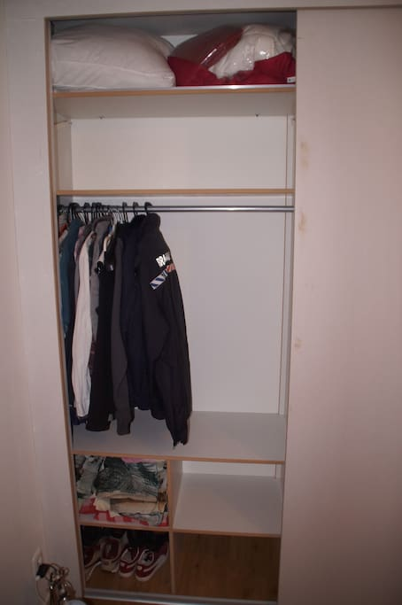 Closet space for guests. Clothes hangers are available.