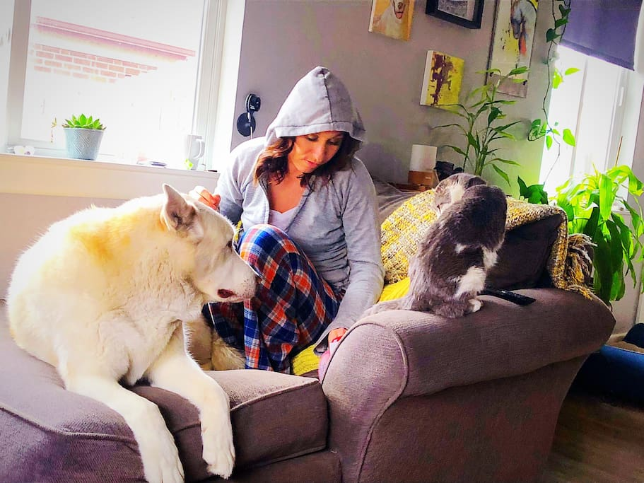 Me with the fur babies {they are snugglers!!}