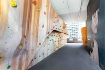 Rock climbing with mural paintings