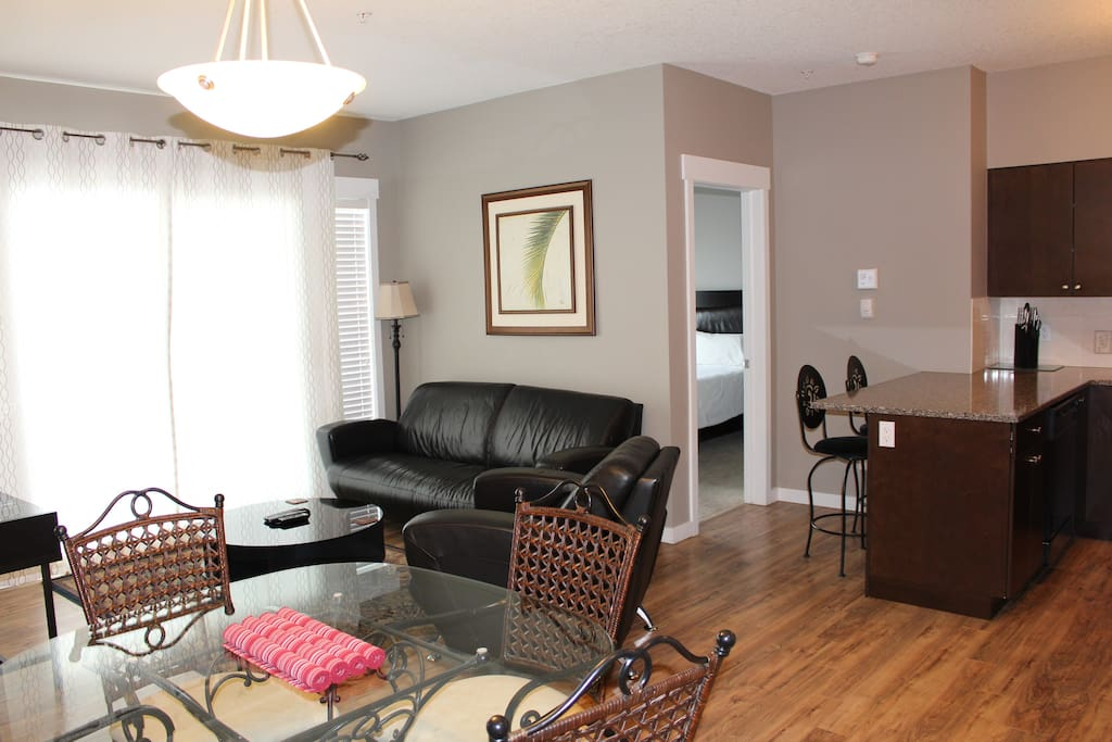 Living Room, Dining Area & Kitchen