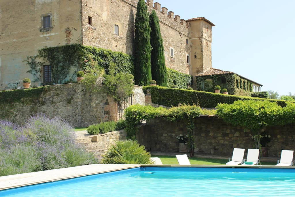 View of the castle from the swimming pool