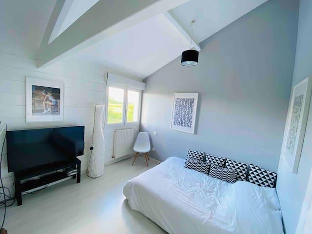 Chambre nº5, avec lit double, TV et console de jeu + salle de bain attenante.