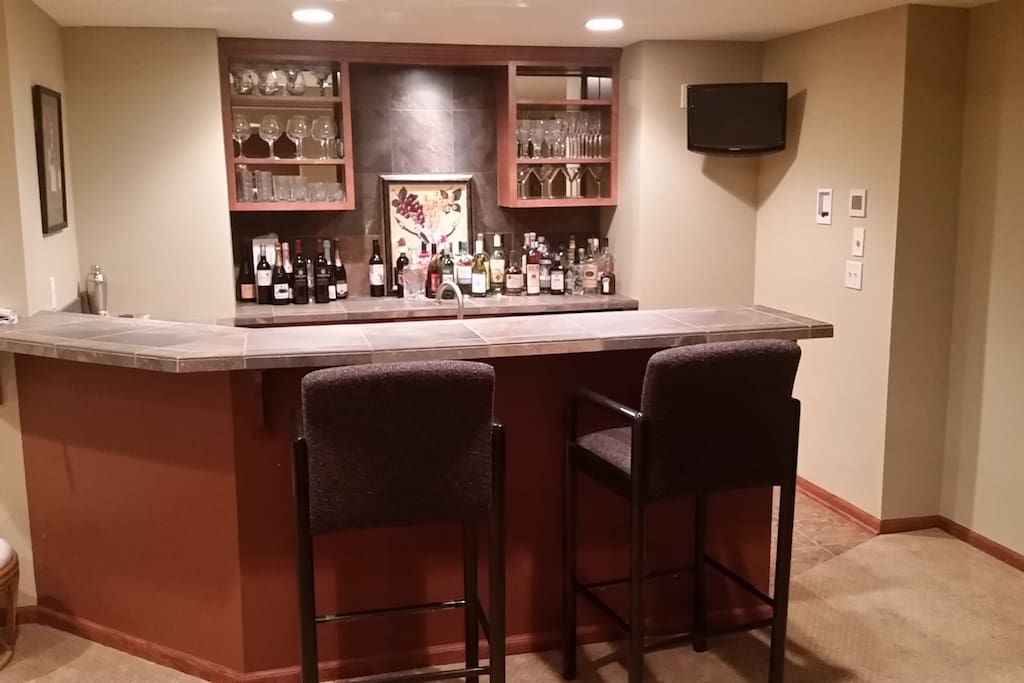 Downstairs Wet Bar with Dual Wine Fridges!