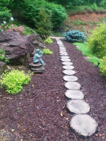 Log Steps in rock garden