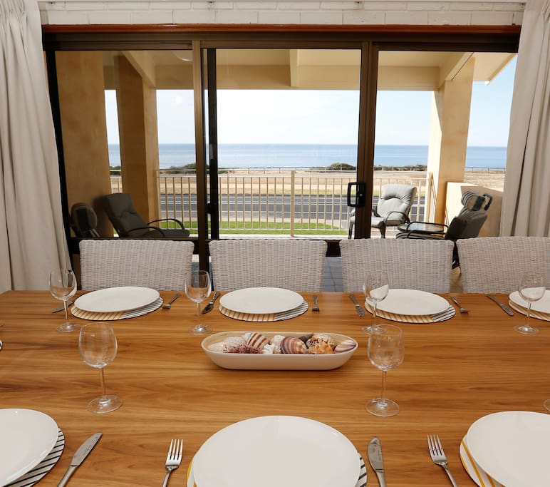 Dining with waterfront views