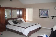 Large oversized Master Bedroom with Cal King memory foam mattress