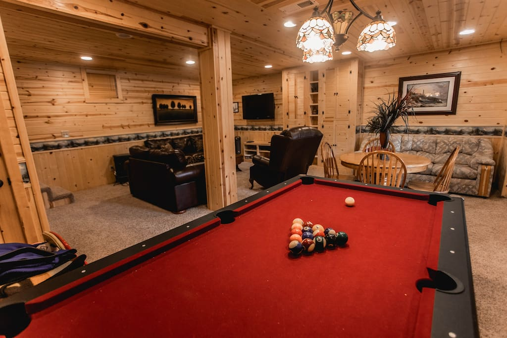 Pool table, card table, and flat screen