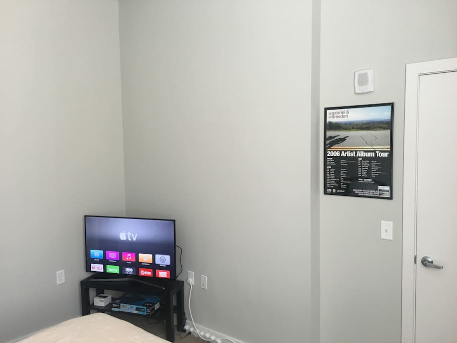 Room is complete with a 40 Inch Samsung TV and Apple TV