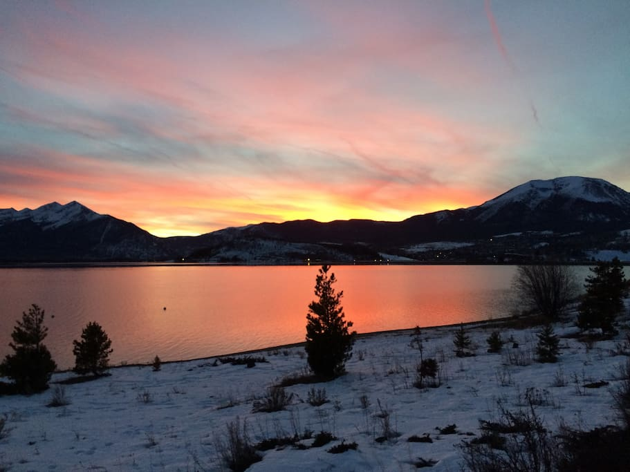 Lake Dillon is 1 block from the house (see map).  BEAUTIFUL!!