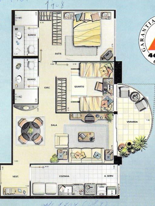 plan de l'appartement (attention : lit double dans chaque chambre)