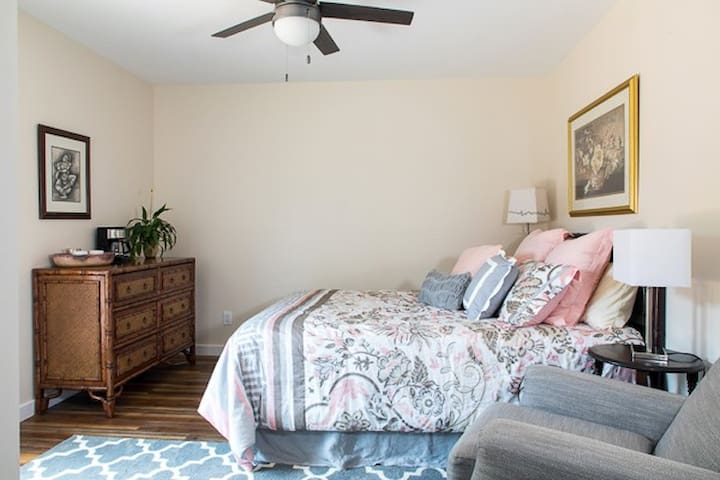 Second bedroom features a private entrance, with queen size bed, en suite bathroom, full closet and dresser.