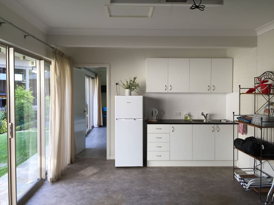 Kitchenette, with connecting door to bedroom/lounge