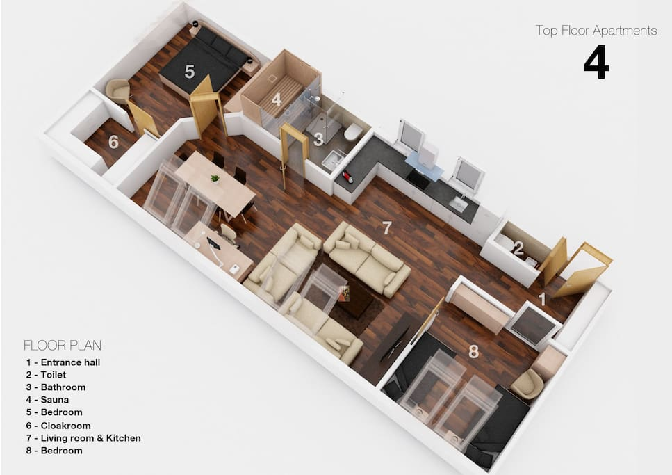 3D Floor Plan - two bedrooms, large living room, kitchen, and much more - including private Finnish sauna!