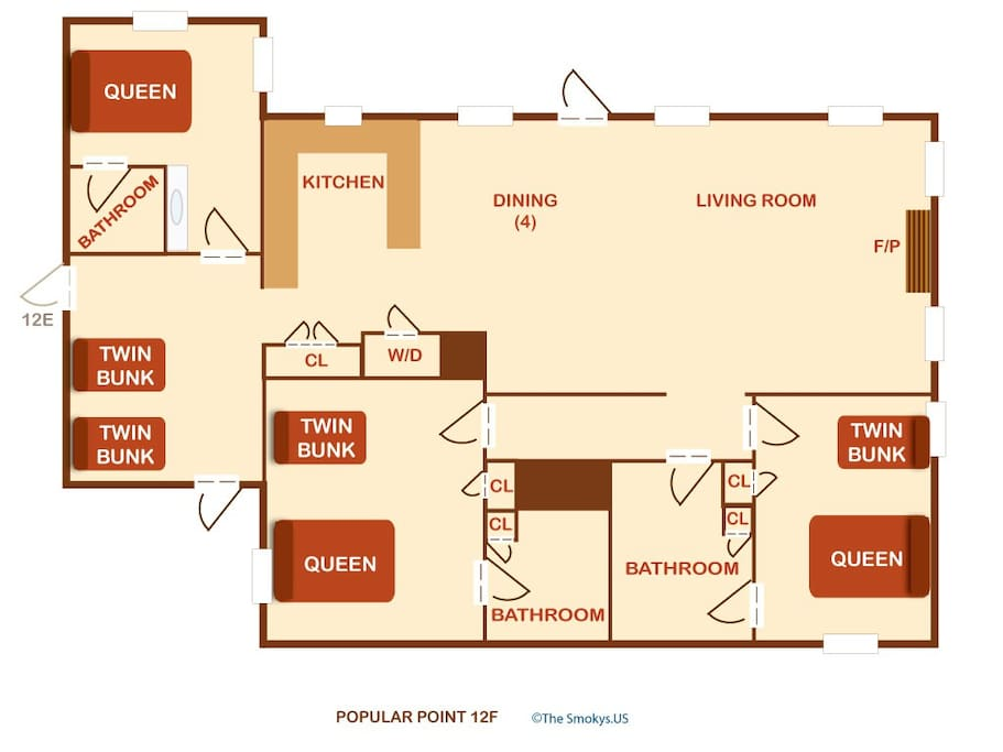 Poplar Point Condo Unit 12F-Floor Plan