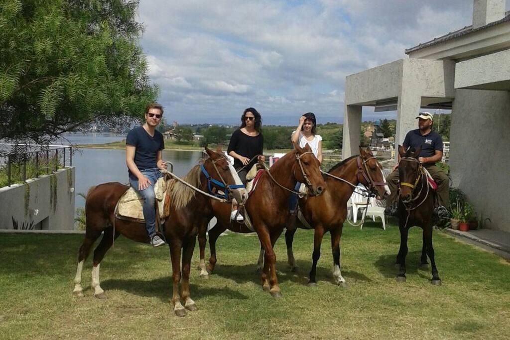 Cabalgatas con hermosos caballos desde su casa y hacia el lago