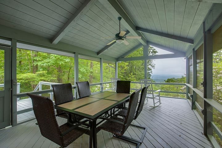 Covered Back Deck with Long Range Views