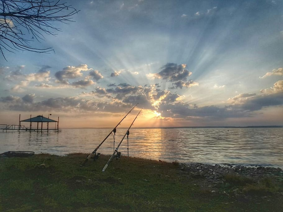 Enjoy beautiful sunrises while you fish from the shore!