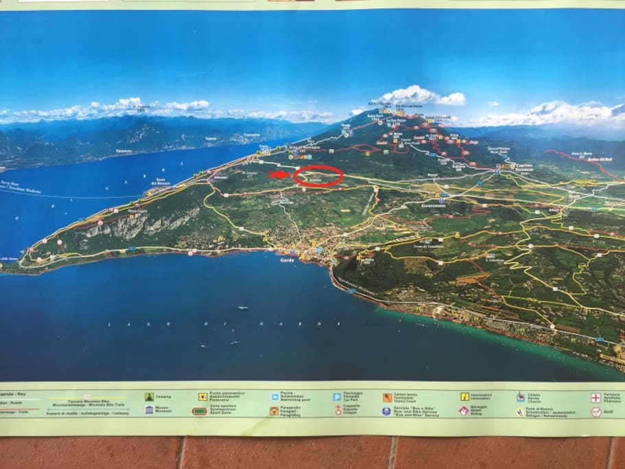 Map of hiking trails. Castion location. Close to Monte Baldo, The Lake, Many villages.
