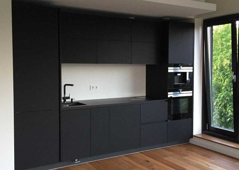 Kitchen with fully automatic Cappuccino/ Espresso machine and 2in1 Oven + Microwave