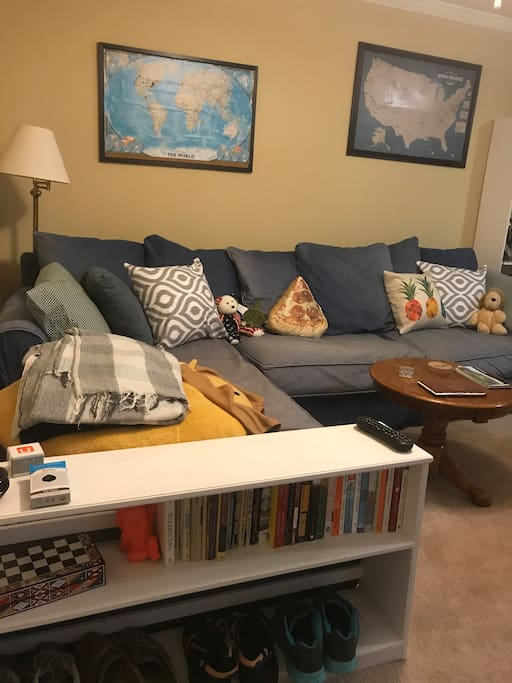 Sectional couch can serve as another bed if needed. It's also just a comfy place to relax and watch TV.