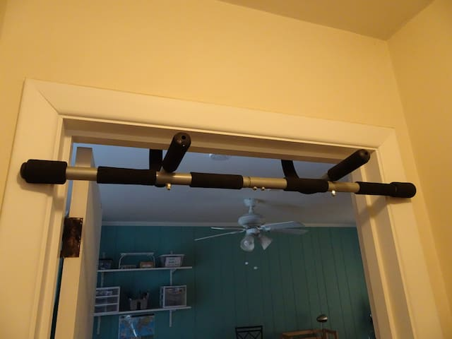 pull-up bar in the doorway of the back room, should you wish to use it