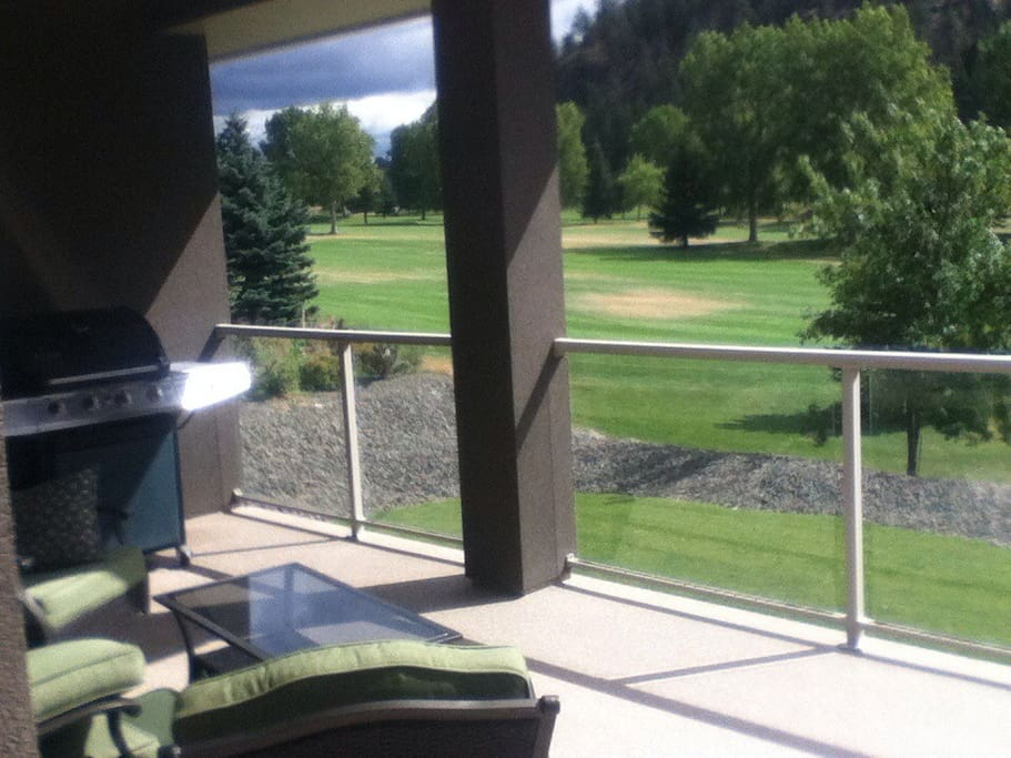 Deck overlooking the golf course.