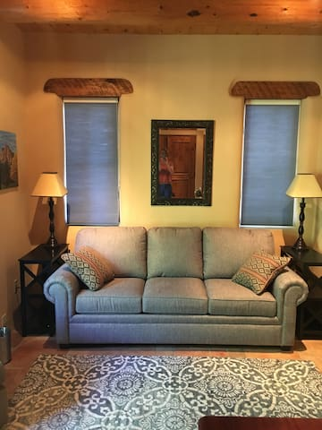 Living area with queen size sofa bed.