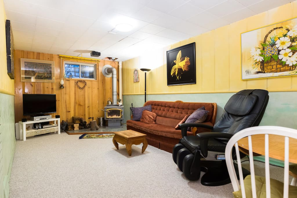 Cozy Basement Suite With Wood Stove
