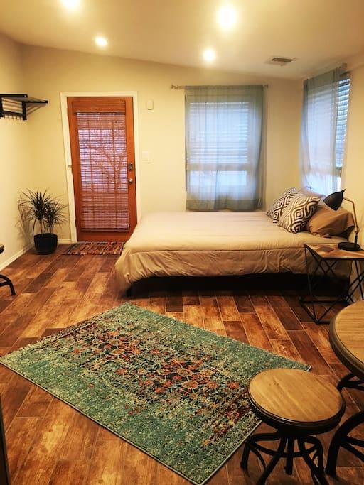 Studio space with queen bed