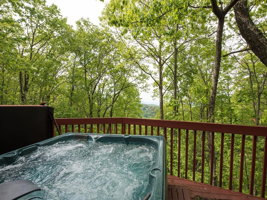 Hot Tub View - Did you remember the champagne? Watch the sunset from your own hot tub hideaway!