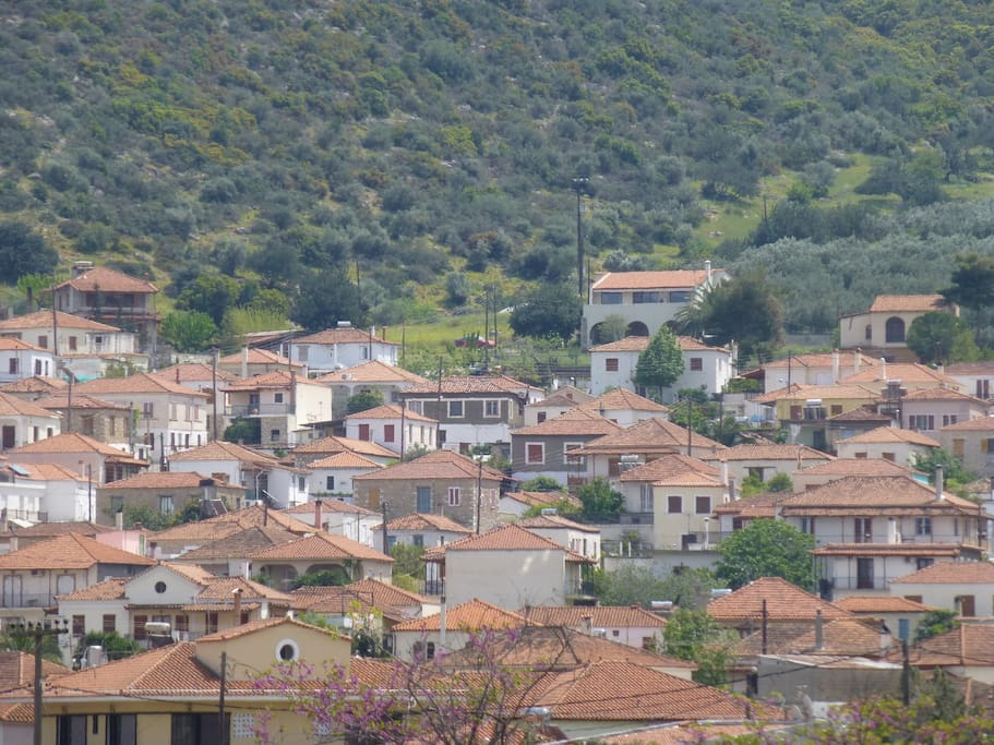 The house (on top in the middle to the right) is situated at the top of Agios Andreas village. You can enjoy your privacy but also have acess to all the amenities in the village on foot