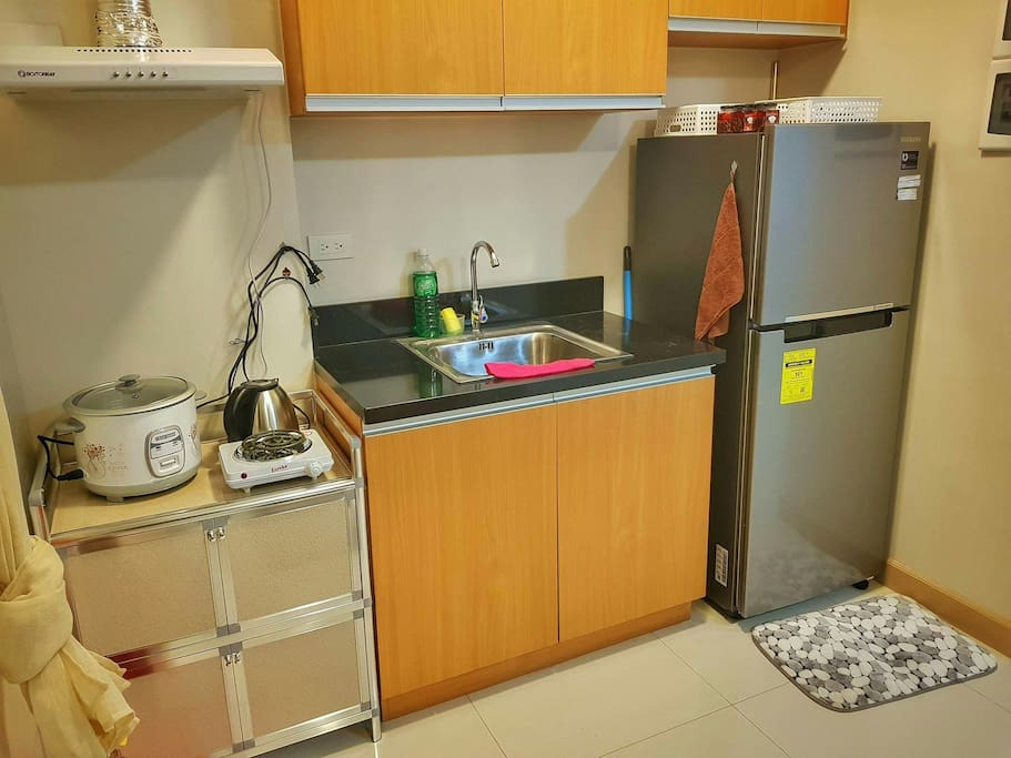 Kitchenware available.  Plates and utensils are available at the cupboard.