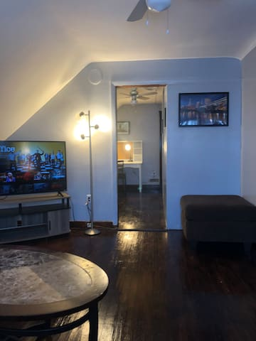 "Living room, includes the queen sized futon, 55"" flat screen tv with Netflix included, plenty of seating space, and room for the air mattress if need be."